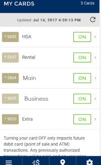Screen shot of the manage cards screen in the Flatwater Bank Mobile App.